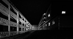 Night scene . . . (norbert.r) Tags: blackandwhite architecture building dark vanishingpoint night empty flickrchallengegroup flickrchallengewinner loneliness