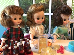 """5. """"Happy birthday"""" (Foxy Belle) Tags: doll vintage tiny betsy mccall dining room party birthday diorama scene dollhouse food cake"""