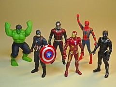 Takara Tomy – Metal Collection (Metacolle) Marvel Diecast Figures Series – Front (My Toy Museum) Tags: takara tomy diecast metal collection metacolle marvel captain america hulk ant panther iron spider man infinity war figure