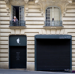 Street - The Old Lady and the Crow (François Escriva) Tags: street streetphotography paris france candid olympus omd fun funny bird raven crow old woman elder lady windows store black white building photo rue haussmann haussmanian light