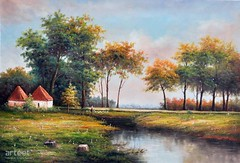 Through A Meadow, Art Painting / Oil Painting For Sale - Arteet™ (arteetgallery) Tags: arteet oil paintings canvas art artwork fine arts landscape tree sky summer lake grass season autumn water clouds trees scene outdoors scenery spring natural sunny rural plant reflection outdoor leaves environment travel leaf fall countryside cloud tranquil meadow field foliage yellow maple sun scenic pond color mountain horizon wood scenics branch day country colorful landscapes impressionism pastorals lime green paint