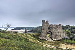 Pennard Castle and Three Cliffs Bay, Gower Peninsula, South Wales (MarkWoods2) Tags: pennardcastleandthreecliffsbay gowerpeninsula southwales castle bay wales ruins