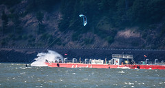 Kite sailing and barge (maytag97) Tags: maytag97 nikon d750 tamron 150600 150 600 kite board kiteboard boarding kiteboarding barge columbia river usa windy wind sport fun recreation outdoor outside