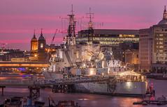 Belfast (Jacek Pilarski) Tags: london belfast ship sunset pink uk water city architecture