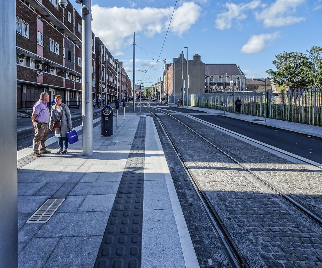 THIS IS THE LUAS TRAM STOP AT LOWER DOMINICK STREET [GREEN LINE]-144157