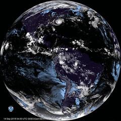 Hemispherical Image of Hurricane Florence (sjrankin) Tags: 14september2018 edited nasa usgs noaa hurricane hurricaneflorence storm weather atlanticocean goes goeseast gif animatedgif northamerica southamerica pacificocean 1167mb large goes16 northcarolina southcarolina georgia