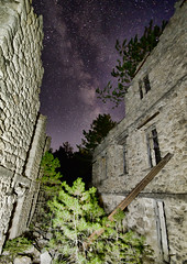 "Inside the ""Anaghennisis"" (n.pantazis) Tags: wall walls pile stones night nightscape outdoors ruin collapse collapsed decline pentaxks2 milkyway tamron wideangle longexposure"