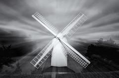 Ghostly windmill (David Feuerhelm) Tags: nikkor blackandwhite bw schwarzundweiss blancoynegro noiretblanc contrast slowshutter longexposure zoomburst windmill mill ghostly ashdon essex postmill nikon d750 2470mmf28