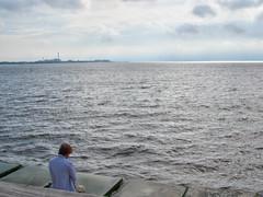 Meditando con el puente al fondo (Micheo) Tags: västrahamnen estrechoöresund agua mar estrecho sund straight puente link suecia tristeza oscuro recuerdos memories