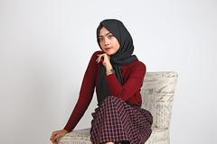 Simple red for style (simpangcandidstudio) Tags: girl fashion style studio beauty beautifulmodel hijab