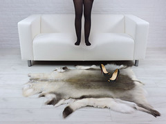Black Tights on White Sofa - Shoes on Fur Rug (Uggling) Tags: feet sock socks softrug deerskin rug fur furrug furryrug furniture skinrug shoes animalskin animalskinrug animalrug deer reindeer tights stiletto stilettos redbottom highheel highheels dirty legs sole christianlouboutin heels heel interiordesign rugs skin sheepskinrug trample trampling thighs