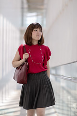 Young woman walking in bright building (Apricot Cafe) Tags: img107197 asia asianandindianethnicities canonef85mmf14lisusm japan japaneseethnicity kasairinkaipark tokyojapan autumn bag beautifulwoman bright capitalcities casualclothing charming clean colorimage day happiness indoors innocence leisureactivity lifestyles lookingaway necklace oneperson oneyoungwomanonly onlywomen people photography portrait publicpark purity realpeople shortsleeved smiling straighthair threequarterlength walking whitebackground women youngadult tokyo tokyoprefecture jp