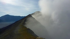 Circonvoluting Bromo's Big Mouth (Eye of Brice Retailleau) Tags: angle beauty composition landscape nature outdoor panorama paysage perspective scenery scenic view extérieur mountain mountains ciel sky montagne path chemin camino indonesia java volcano trail bromo wide crater smoke rim active