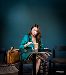 Street - At the café (François Escriva) Tags: street streetphotography paris france olympus omd light candid coffee café chair table bag green colors photo rue mood wall