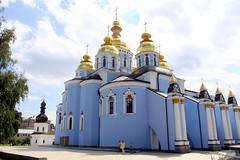 Kiev, St. Michael Cathedral and Monastery (oriana.italy) Tags: kiev ukraine stmichaelcathedral lightbluewalls bleuciel goldendomes img0114 orianaitaly baroque byzantinestyleinterior azzurro
