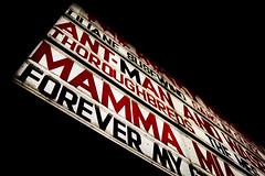Mamma Mia! (iamunclefester) Tags: munich münchen black red cinema mammamia mamma mia mama advertising dark night light box lightbox
