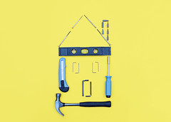 Selection of tools in the shape of a house. (niekrasova) Tags: angle background blue building concept construct construction craft design development drill engineering equipment fix hammer hardware home house improvement improving industrial industry isolated level measure metal minimal knolling object pliers renovate renovation repair roof ruler screw screwdriver service set shape space steel structure tool vibrant window work wrench yellow color