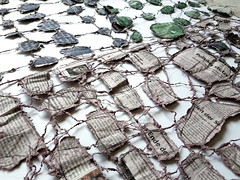 backside (Ines Seidel) Tags: newspaper texture pattern gestures hands news connection sewing machinestitching paper fiberart zeitung gesten hände nähen papier