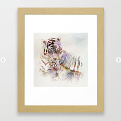 Tigress with Cub Framed Art Print (marianv2014) Tags: tiger tigers cub cubs stripes animal animals animalart wildanimal wildanimals side face faces wildlife animalsofprey watercolor watercolour wallart walldecor tigerdecor tigerposter tigerwallart bengaltigers roomdecor purple artgifts affordableart wildcreature head heads fineart carnivores cat cats bigcat bengaltiger splashes splatters squareformat moderndecor illustration artwork art contemporary zoology decor cute framed prints
