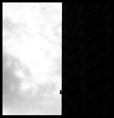 Window Washer (johnnydutcher) Tags: height jobs people streetstyle street photojournalism silhouette shadow contrast photography streetphotography tower urban jerseycity architecture blackandwhite monochrome