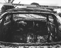 Arista-100-4x5-001 (alexalonzo177) Tags: fire houses house neighborhood burn burnt film largeformat 4x5 8x10 blackandwhite black white car destroyed caution california santarosa