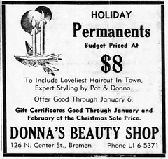 1961 - Donna's Beauty Shop 126 N Center - Enquirer - 14 Dec 1961