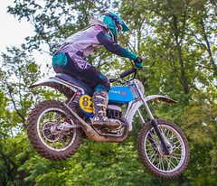 Flying A Vintage Bultaco (John Kocijanski) Tags: 1976bultacopursang250 motorcycle motocross dirtbike vehicle race racer rider canon70300mmllens canon7d blue people