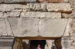 Cross in the keystone (Adaptabilly) Tags: stone keystone turkey lumixg1 shadow asia travel lintel woman christianity architecture cross efes greek ephesos ephesus izmir tr