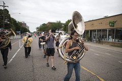 Marching band on Franklin Avenue at Open Streets Minneapolis (Fibonacci Blue) Tags: minneapolis mpls franklin minnesota open street public bicycling skating event fair music performer march tuba