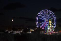 Ferris Wheel & Moon (Aguona*) Tags: ferriswheel wheel moon night nikond3100 nikon nikkor lights light poland europe krynicamorska summer landscape amus amusementpark