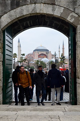 Leaving The Blue Mosque (itchypaws) Tags: sultan ahmed ahmet mosque camii blue hagia sophia aya sofya orthodox church museum door 2018 istanbul turkey europe holiday vacation