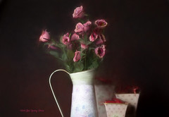 Still Life (Bob.Hurley - bobhurleyphoto.com) Tags: stilllife vase flowers painting photoshoppainting photoshopart pink godox grid objects mood colour vividcolour canonphotography