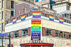 PARADE WATCHERS ON THE MEZZ -- MPLS PRIDE 2018- (panache2620) Tags: unionbar downtown pride pride2018 minneapolis minnesotahennepinave eos canon photodocumentary photojournalism parade glbtq color gay crowd rooftop patio people group city urban cityscape
