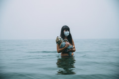 apoplectic (Lichon photography) Tags: red april lichonphotography baby gas mask fire britishcolumbia ke kelowna canada canadian cosplay cosplayer water lake smoke