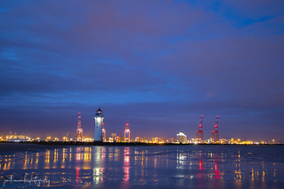 New Brighton Lighthouse and Bootle Docks
