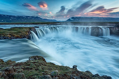 Waterfall of the Gods (Kirk Lougheed) Tags: godafoss goðafoss iceland icelandic norðurlandeystra skjálfandafljót landscape outdoor river sunset water waterfall