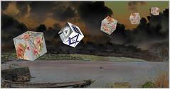 Imagination - Floating Cubes over Coverack Cornwall England. (Bill E2011) Tags: imagination floating cubes flowers symbols coverack cornwall england effects photoshopwater atlantic sea ocean