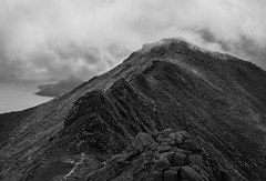 adventure (ally bally bee) Tags: atmospheric blackandwhite argyllandbute arran clouds climbing corbett goatfell goatfellridge hillwalking height isleofarran island landscape light mountains nature outdoors open rocks ridge sonycameras scotland shadows tors path cliffs view weather