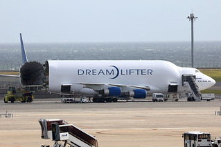 Boeing B747-400LCF Dreamlifter N747BC being loaded at NGO/RJGG