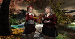 秋の気配 (Miyabi Harucus 1102) Tags: secondlife scene slavatar sexy autumn cosplay catwa maitreya schooldays highschool portrait friend fashion forest tram