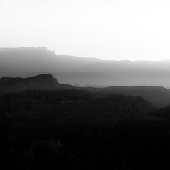 Vanishing Landscape 018 (noahbw) Tags: brycecanyon d5000 nikon utah abstract autumn blackwhite blackandwhite bw canyon cliffs desert erosion fog foggy hills horizon landscape light minimal minimalism mist misty monochrome mountains natural noahbw quiet rock shadow silhouette sky square still stillness stone