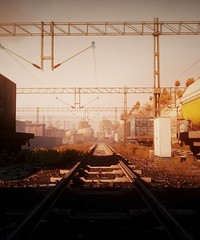 Tracks | Battlefield 3 (Stellasin) Tags: army game gaming dark darkness beauty beautiful buildings battlefield destruction engine 3 weather reflection fog graphics grass hot photography sky marines mods screenshot sun sunrise sunset trees war tracks train