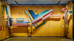 Brussels, Belgium: Botanique / Kruidtuin metro station (Lines 2 & 6); Artist Emile Souply uses steel tubes covered in enamel paint (nabobswims) Tags: be belgium botanique brussels bruxelles hdr highdynamicrange ilce6000 kruidtuin lightroom metro mirrorless nabob nabobswims photomatix rapidtransit sel18105g sculpture sonya6000 station subway ubahn