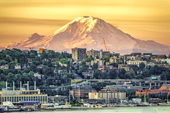 City of Rain (tehhanlin) Tags: seattle usa america landscape cityscape sunset sunrise mountain mount rainier mountrainier washington ngc sony travel places place city park nationalpark