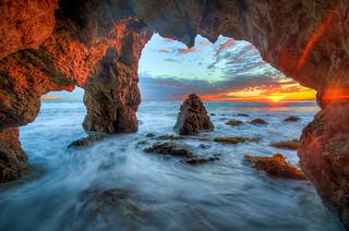 Malibu Sea Cave Landscape Seascape Sunset Colorful Clouds! Dr. Elliot McGucken HDR Malibu California Fine Art Landscape & Nature Photography!  Malibu's Epic Pacific Ocean Seascapes! Enlarged to Nikon D850 resolutions: 8256 x 5504 pixels. Socal Art