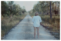 Dirt Road Dream (Au_Naturale_Light) Tags: erotica erotic eroticism blond blondea art fineart woman girl adult retro grainy vintage woods forest morning thong butt booty ass bottom backside stripping undressinng undressing