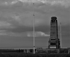 Cenotaph by The Sea - Whitley Bay (Gilli8888) Tags: northeast nikon p900 coolpix whitleybay seaside coast spanishcity tyneandwear northtyneside blackandwhite clouds sky weather cenotaph monument memorial