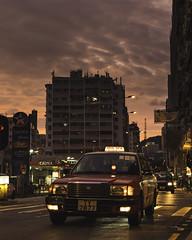 Sunset before typhoon (mikemikecat) Tags: hongkong shamshuipo magicmoment magic magichour dusk minibuses taxi