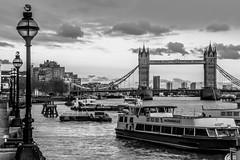 London-0288 (timbertree9) Tags: london blackandwhite monochrome mono sky skyline towerbridge water thethames clouds unitedkingdom greatbritain england boats bridge river riverthames se12up