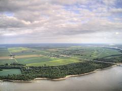 Cape Girardeau is a City on the Mississippi River and border between Missouri and Kentucky (JacobBoomsma) Tags: beautiful river morning skyline boat sky background landscape sunrise mississippi travel early bridge scene sail girardeau nature cape missouri water aerial summer drone plane downtown city town urban center buildings
